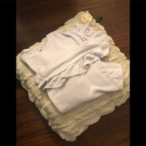 Hinge Lavender Sweatshirt with Ruffles on Sleeves